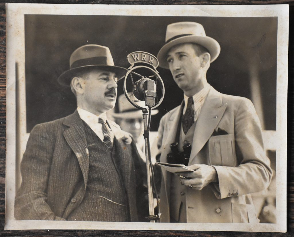 Country Life founder Adolphe Pons (left) in a pre race interview .