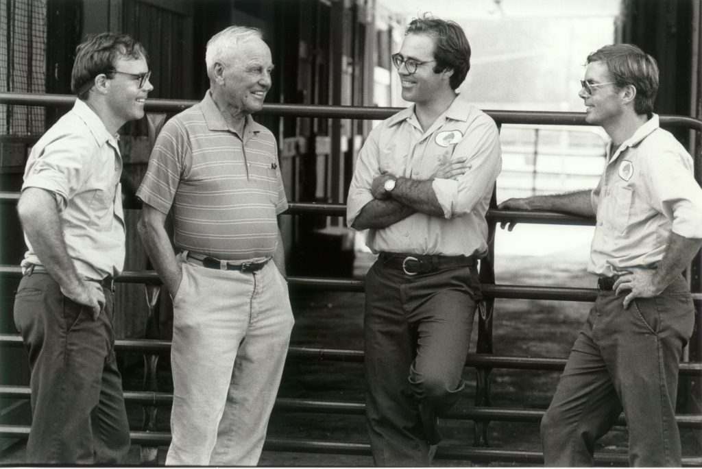 (l-r)  Michael Pons, Stuart Janney, Andrew Pons and Josh Pons . Mr Janney syndicated Assault Landing at stud in 1985.