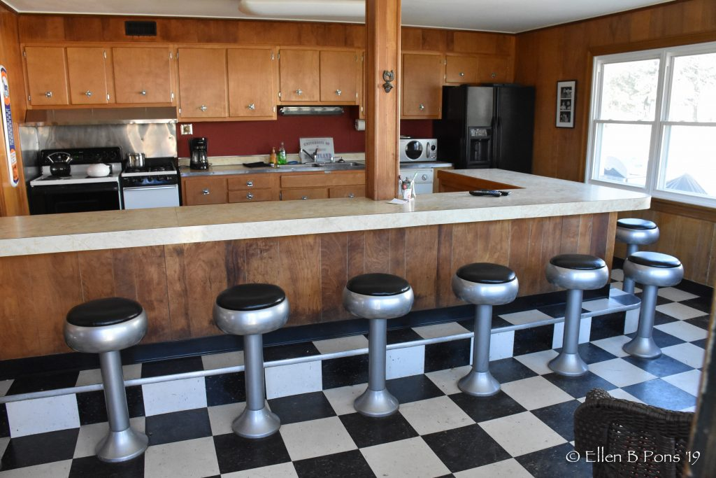 The 1950's kitchen is a gathering place to watch a race or take a break when visiting the farm.