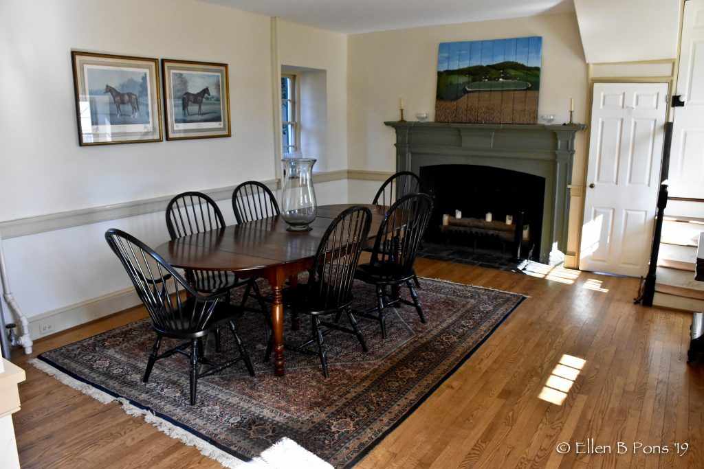The dining room is a shared space during the day.